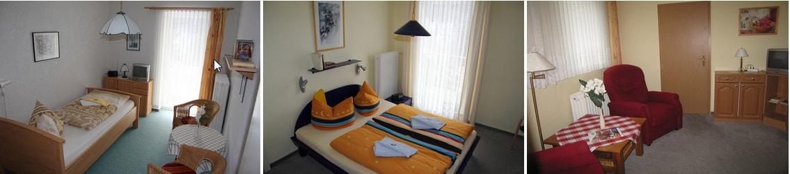 Einzelzimmer, Doppelzimmer und kleine Suite